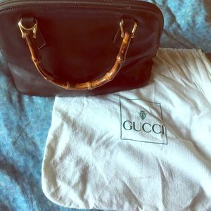 Vintage Gucci handbag with signature bamboo accent